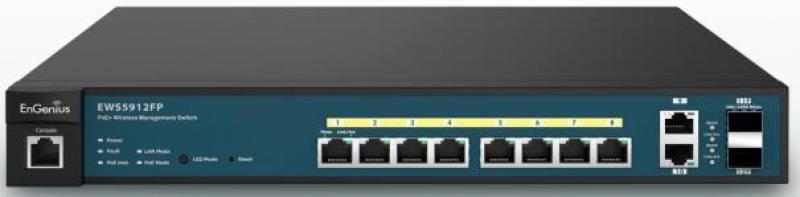 Коммутатор EnGenius Wireless Management EWS5912FP 20AP 8 портов Gigabit PoE 2GbE 2SFP L2 13i