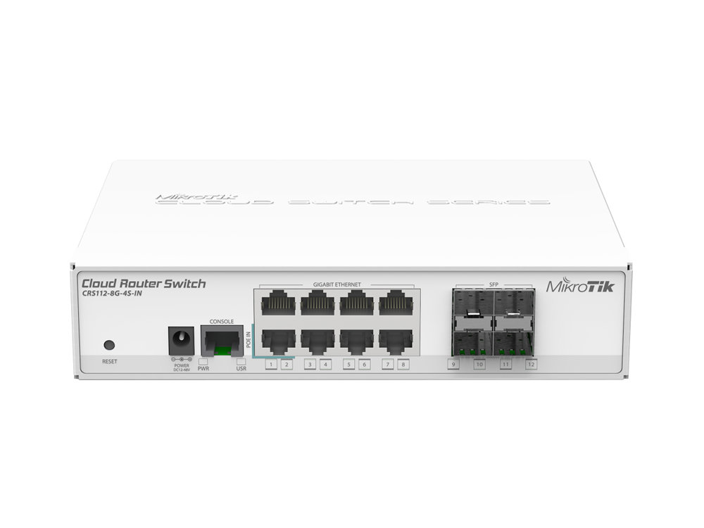 Маршрутизатор MikroTik CRS112-8G-4S-IN 8LAN/WAN 10/100/1000Mbps + 4SFP