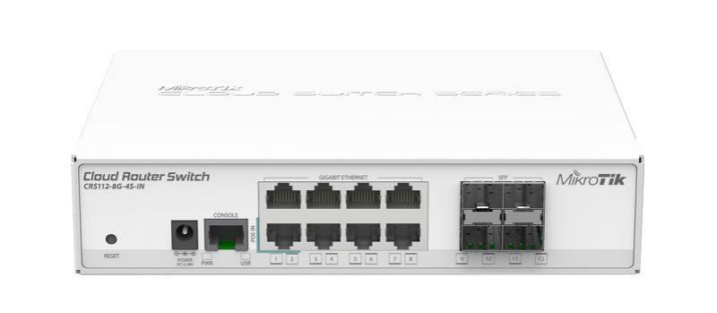 Коммутатор MikroTik CRS112-8G-4S-IN управляемый 8 портов 10/100/1000Mbps. Производитель: Mikrotik, артикул: 0445410