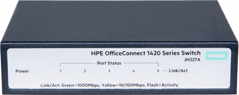 Коммутатор HP 1420 неуправляемый 5 портов 10/100/1000Mbps JH327A коммутатор hp 1420 24g 2sfp