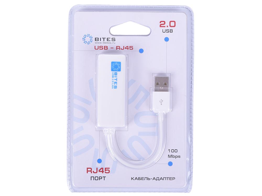 Сетевой адаптер 5bites UA2-45-02WH 10/100Mbps USB2.0 5bites ua3c 45 08bk кабель адаптер usb3 1 rj45 100mb black