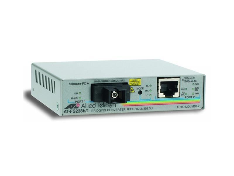 Картинка для Медиаконвертер Allied Telesis AT-FS238A/1 Single-fiber 10/100M bridg-converter 1310Tx/1550Rx 15km