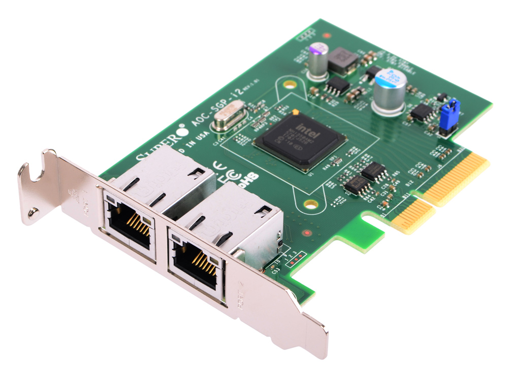Сетевой адаптер SuperMicro AOC-SGP-I2 10/100/1000 Мбит/c PCI-E 2xRJ-45 сетевой адаптер supermicro aoc sgp i2