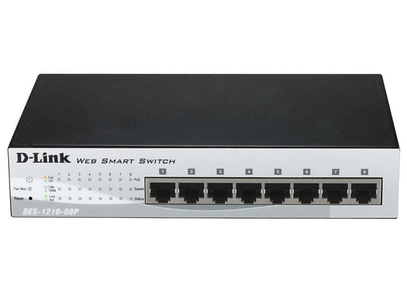 Коммутатор D-LINK DES-1210-08P/C1A/C2A управляемый 8 портов 10/100Mbps PoE коммутатор hp e1910 8 poe управляемый 8 портов 10 100mbps poe jg537a