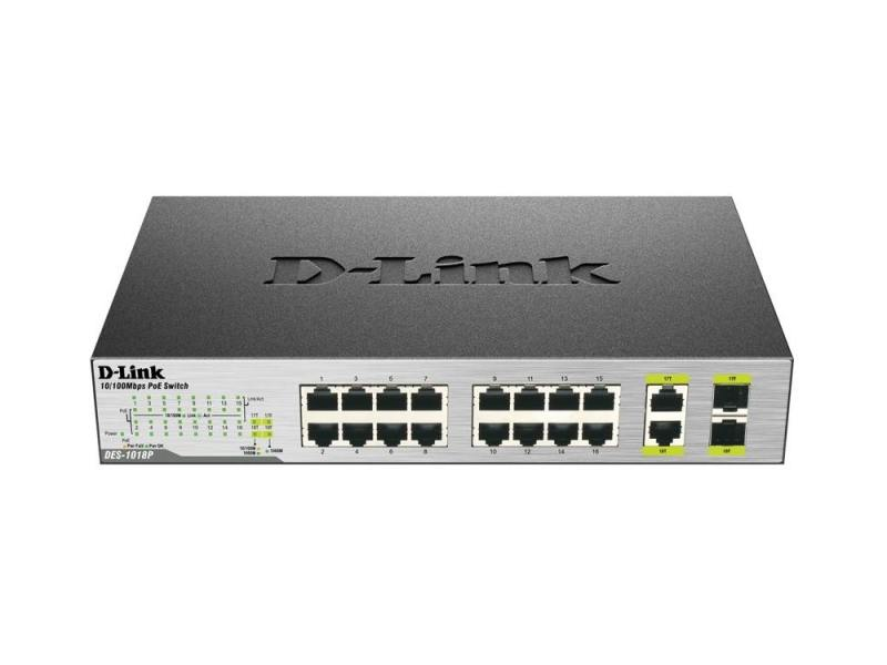 Коммутатор D-Link DES-1018P/A1A неуправляемый 16 портов /100Mbps 2хCombo PoE