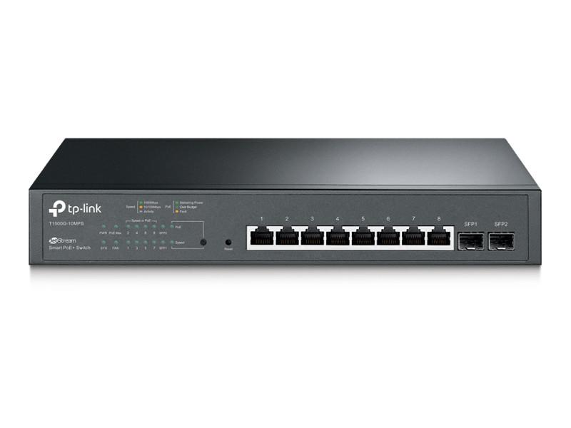 Коммутатор TP-LINK T1500G-10MPS JetStream Smart гигабитный коммутатор PoE+ на 8 портов и 2 SFP-слота