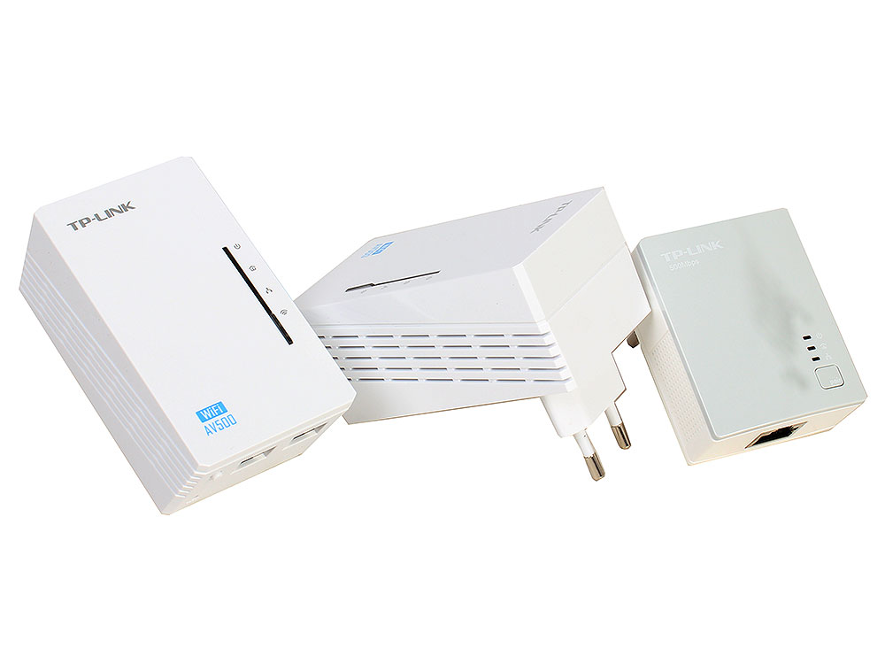 Адаптер TP-Link TL-WPA4220T KIT AV500 Комплект Wi-Fi Powerline адаптеров с 2 портами Ethernet комплект адаптеров powerline tp link tl wpa7510kit 10 100 1000mbps