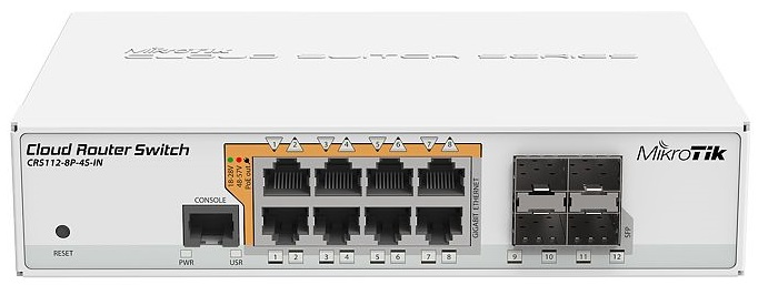 Коммутатор MikroTik CRS112-8P-4S-IN 8xGigabit LAN PoE-out, 4xSFP