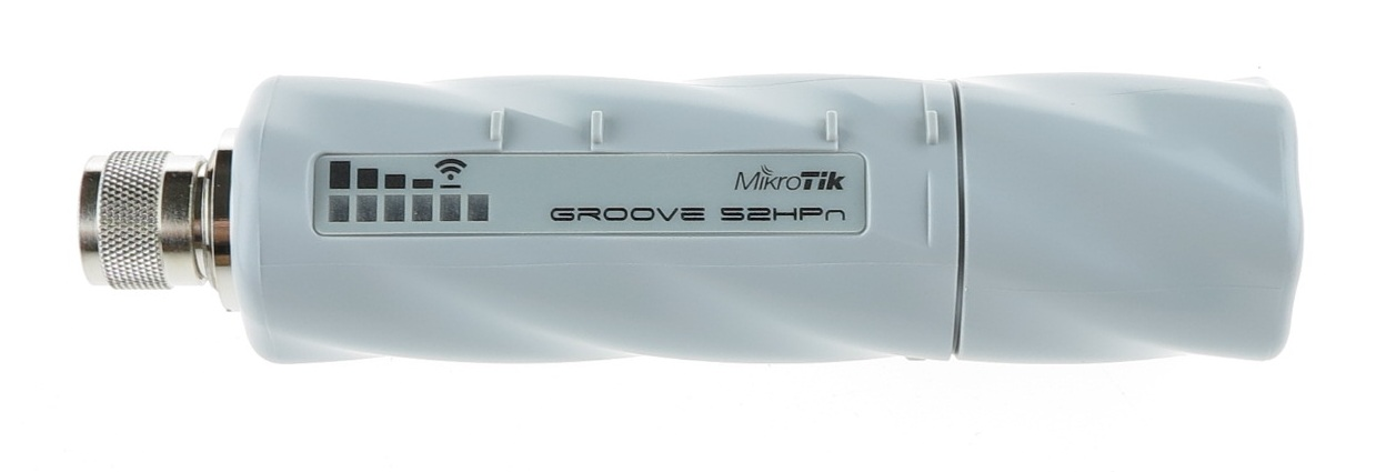 Точка доступа MikroTik RBGroove-52HPn Groove 52 with N-male connector, High Gain Single Chain 2.4GHz / 5GHz 802.11abgn wireless, 600MHz CPU, 64MB RAM,