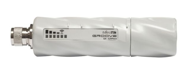 Точка доступа MikroTik RBGrooveG-52HPacn Groove 52 ac with Nmale connector, 720MHz CPU, 64MB RAM, 1 x Gigabit LAN, 1 x built-in high power 2.4/5GHz 80