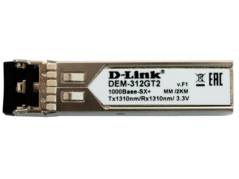 цена на SFP-трансивер D-Link DEM-312GT2/A1A SFP-трансивер с 1 портом 1000Base-SX+ для многомодового оптического кабеля (до 2 км)