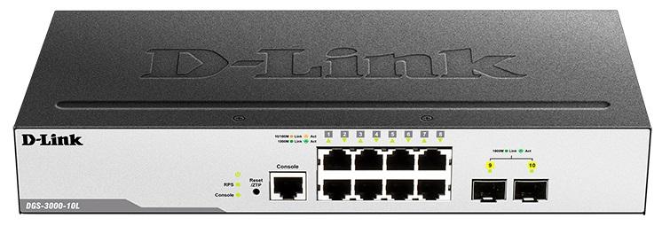 Коммутатор D-Link DGS-3000-10L/B1A Управляемый 2 уровня с 8 портами 10/100/1000Base-T и 2 портами 1000Base-X SFP коммутатор d link 8 ports 10 100 mbps poe 8 ports 10 100 mbps 2 10 100 1000base t sfp combo ports unmanaged switch