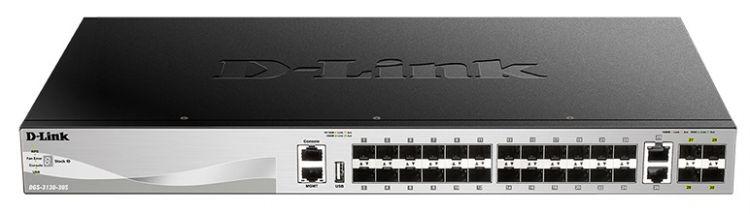 Коммутатор D-Link DGS-3130-30S/A1A Коммутатор D-Link DGS-3130-30S/A1A Управляемый стекируемый 3 уровня с 24 портами 1000Base-X SFP, 2 портами 10GBase-T и 4 портами 10GBase-X SFP+