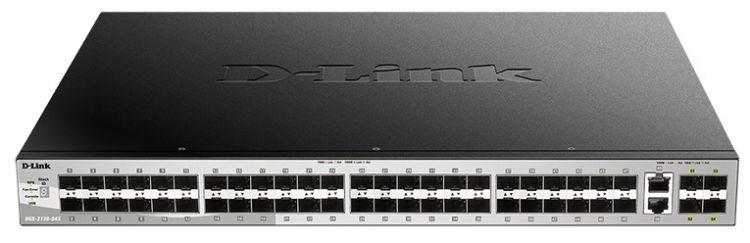Коммутатор D-Link DGS-3130-54S/A1A Управляемый стекируемый 3 уровня с 48 портами 1000Base-X SFP, 2 портами 10GBase-T и 4 портами 10GBase-X SFP+
