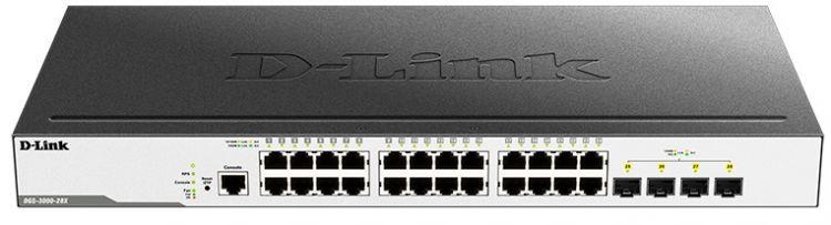 Коммутатор D-Link DGS-3000-28X/B1A Управляемый коммутатор 2 уровня с 24 портами 10/100/1000Base-T и 4 портами 10GBase-X SFP+ межсетевой экран d link dsr 500 b1a гигабитный сервисный маршрутизатор с резервированием wan портов