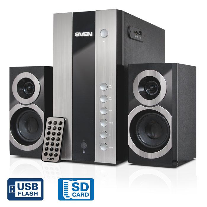 Колонки Sven MS-1090, чёрный, акустическая система 2.1, мощность(RMS):18Вт+2х11 Вт, USB/SD, ПДУ
