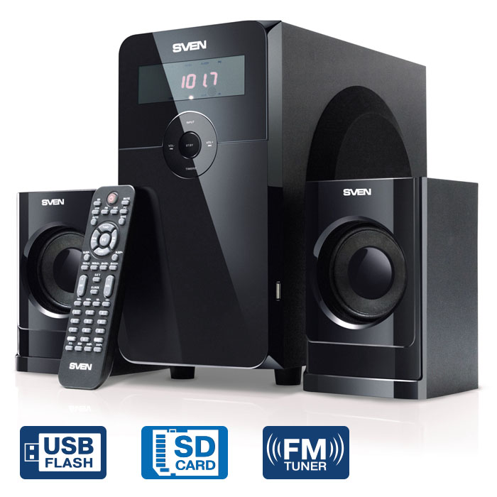 Купить Колонки Sven Ms-2000, Чёрный, Акустическая Система 2.1, Мощность(Rms):18Вт 2Х11 Вт, Fm-Тюнер, Usb/sd, Дисплей, Пду