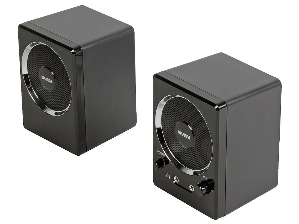 Колонки Sven 247  Black 2х2Вт  2х полосные черные  выход на наушники кабель sven oo474 black