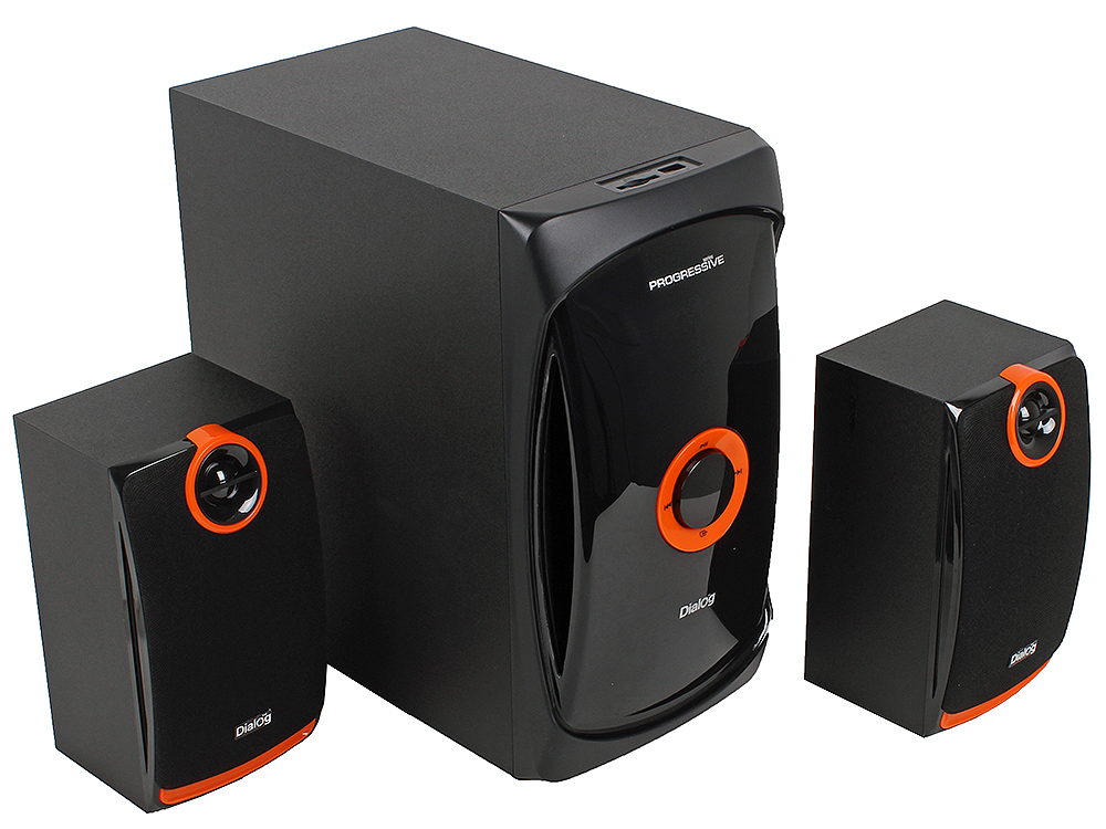 цена на Колонки Dialog Progressive AP-200 BLACK - 2.1, 30W+2*15W RMS, USB+SD reader