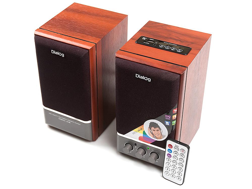 Колонки Dialog Disco AD-07 2.0, Brown (24 Вт, 20 - 20000 Гц, FM, пульт ДУ, mini Jack, USB, Micro SD, MDF, 220V) колонки dialog disco ad 07 2x12вт черный