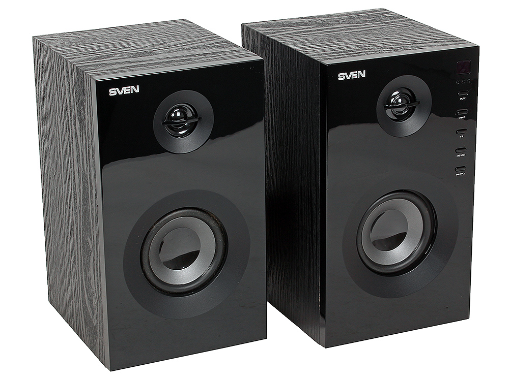 Колонки Sven SPS-615 black 2.0, Black (SV-013707) (20 Вт, 60 - 20 000 Гц, Bluetooth, mini Jack, USB, SD, MDF, 220V) shunwei sd 1604 mini flexible rolling door storage organizer case box black