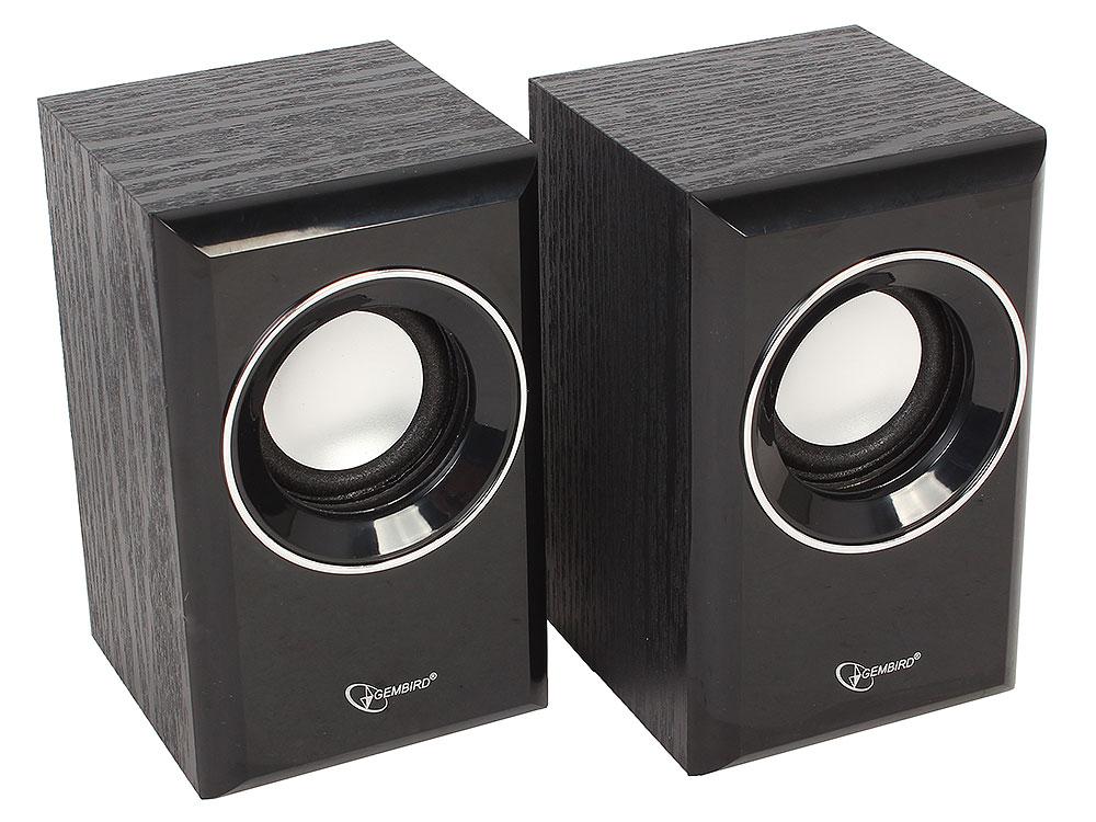 Колонки Gembird SPK-204, черный МДФ,2х3 Вт, регулятор громкости, USB