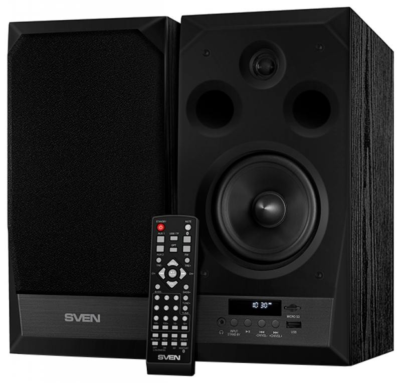 Колонки Sven MC-20 2.0 Black 2х45 Вт, 40-27000 Гц, Bluetooth, пульт ДУ, mini Jack, microSD, MDF, USB, 220V колонки dialog disco ad 07 2 0 brown 24 вт 20 20000 гц fm пульт ду mini jack usb micro sd mdf 220v