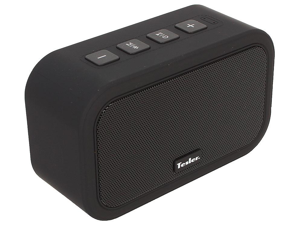 Портативная акустическая система TESLER PSS-444 Черный, Bluetooth, прорезиненный корпус, мощность колонок 2х3 Вт портативная колонка tesler pss 555