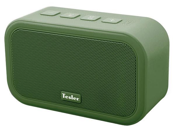 Портативная акустическая система TESLER PSS-444 Зеленый, Bluetooth, прорезиненный корпус, мощность колонок 2х3 Вт