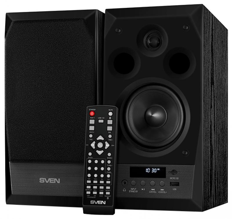 Колонки Sven MC-10 2.0 Black 2х25 Вт, 45-27000 Гц, Bluetooth, пульт ДУ, RCA, microSD, mini Jack, MDF, USB, 220V колонки dialog disco ad 07 2 0 brown 24 вт 20 20000 гц fm пульт ду mini jack usb micro sd mdf 220v