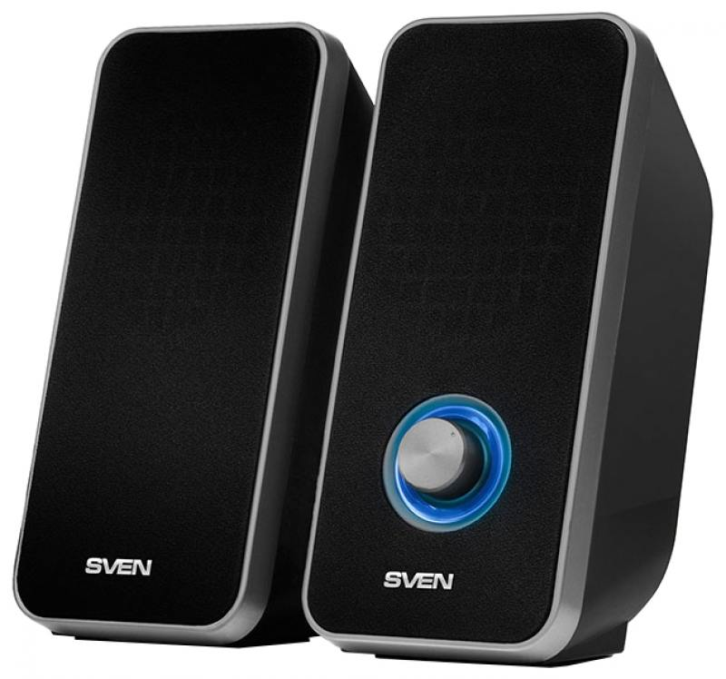 Колонки Sven 325 2.0 Black 2х3 Вт, 80-20000 Гц, mini Jack, USB колонки dialog disco ad 07 2 0 brown 24 вт 20 20000 гц fm пульт ду mini jack usb micro sd mdf 220v