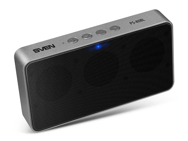 Колонки Sven PS-80BL, черный, 2.0, мощность 2x3 Вт(RMS), Bluetooth, microSD, FM, Алюминиевый корпус, встроенный аккумулятор