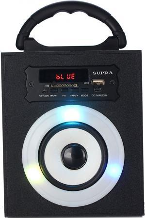 Портативная колонкаSupra BTS-550, Black (5 Вт, 20 - 20 000 Гц, Bluetooth, mini Jack, USB, microSD, батарея) колонки sven mc 20 2 0 black 2х45 вт 40 27000 гц bluetooth пульт ду mini jack microsd mdf usb 220v