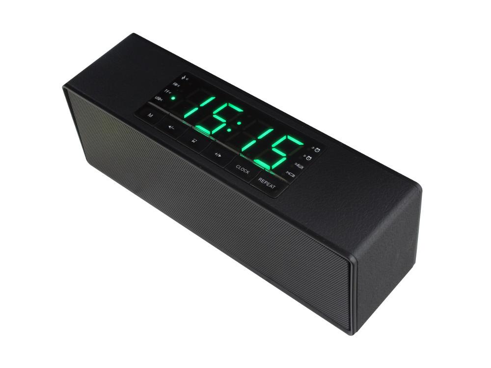 Беспроводная BT-Колонка GINZZU GM-883B, BT-Колонка 2x5w/LCD/USB/TF/AUX/FM/часы/2будильн.