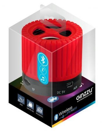 Портативная колонка Ginzzu GM-988R Red 3 Вт, 200-15000 Гц, Bluetooth, mini Jack, батарея, USB портативная колонка creative woof 3 chrom 3 вт микрофон bluetooth mini jack батарея usb