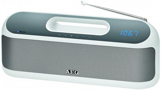 Портативная колонка AEG SR 4842 BTS White Bluetooth, FM, mini Jack, Power Bank, батарея aeg md 5613 white blue ирригатор