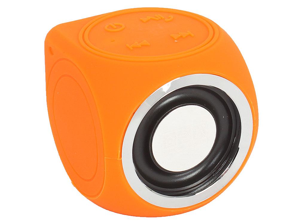 Портативная колонка CW Cubic Box, Orange (138251) (3 Вт, 150 - 20 000 Гц, Bluetooth, USB, батарея) портативная беспроводная музыкальная колонка cw cubic box цвет оранжевый карабин и usb кабель в комплекте