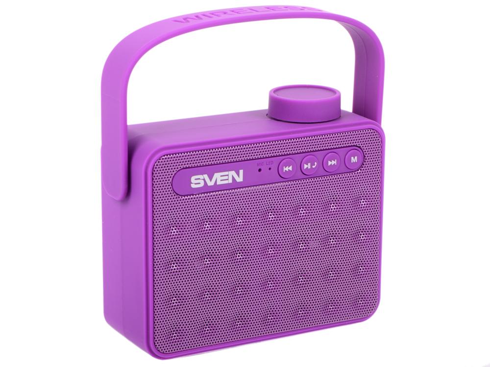 Портативная колонка Sven PS-72 Purple 6 Вт, 150 – 20 000 Гц, AUX, USB, microSD, FM, BlueTooth колонки sven mc 20 2 0 black 2х45 вт 40 27000 гц bluetooth пульт ду mini jack microsd mdf usb 220v