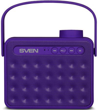 Портативная акустика Sven PS-72 6Вт Bluetooth фиолетовый 6 Вт, 150 – 20 000 Гц, AUX, USB, microSD, FM, BlueTooth портативная акустика microlab d861bt 6вт bluetooth черно зеленый
