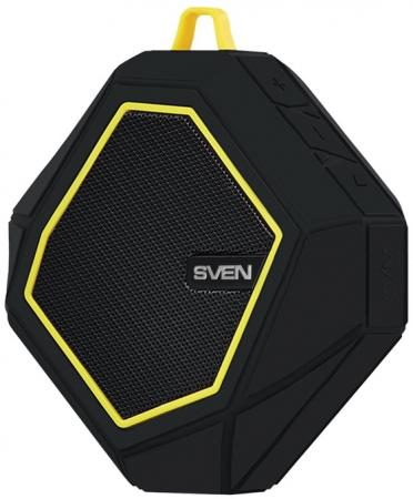 Портативная колонка Sven PS-77 Black Yellow 5 Вт, 120-20000 Гц, Bluetooth, mini Jack, батарея, USB колонки sven mc 10 2 0 black 2х25 вт 45 27000 гц bluetooth пульт ду rca microsd mini jack mdf usb 220v