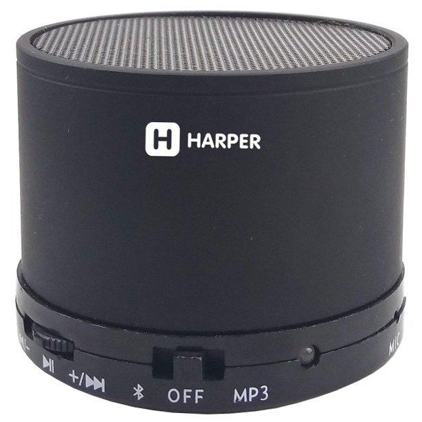 Портативная колонка HARPER PS-012 Black 3 Вт / 120 - 16000 Гц / Bluetooth 3.0 / microSD портативная колонка harper pspb 200 white беспроводная акустика 2 x 5 вт 180 18000 гц bluetooth 4 2 microsd