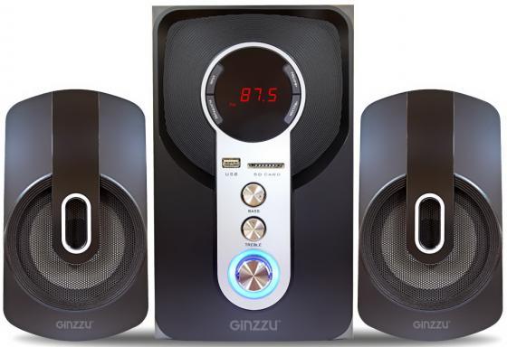 Ginzzu GM-405 2.1 с Bluetooth, выходная мощность 20Вт + 2х10Вт, аудиоплеер USB-flash, SD-card, FM-ра