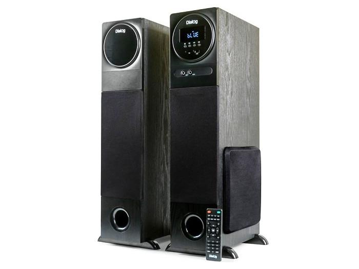 Колонки Dialog Progressive AP-2300 BLACK 2.0 (80W RMS, BT, FM, USB, SD, беспр.микрофон ,ДУ) колонки dialog disco ad 06 black 24w rms 2 0