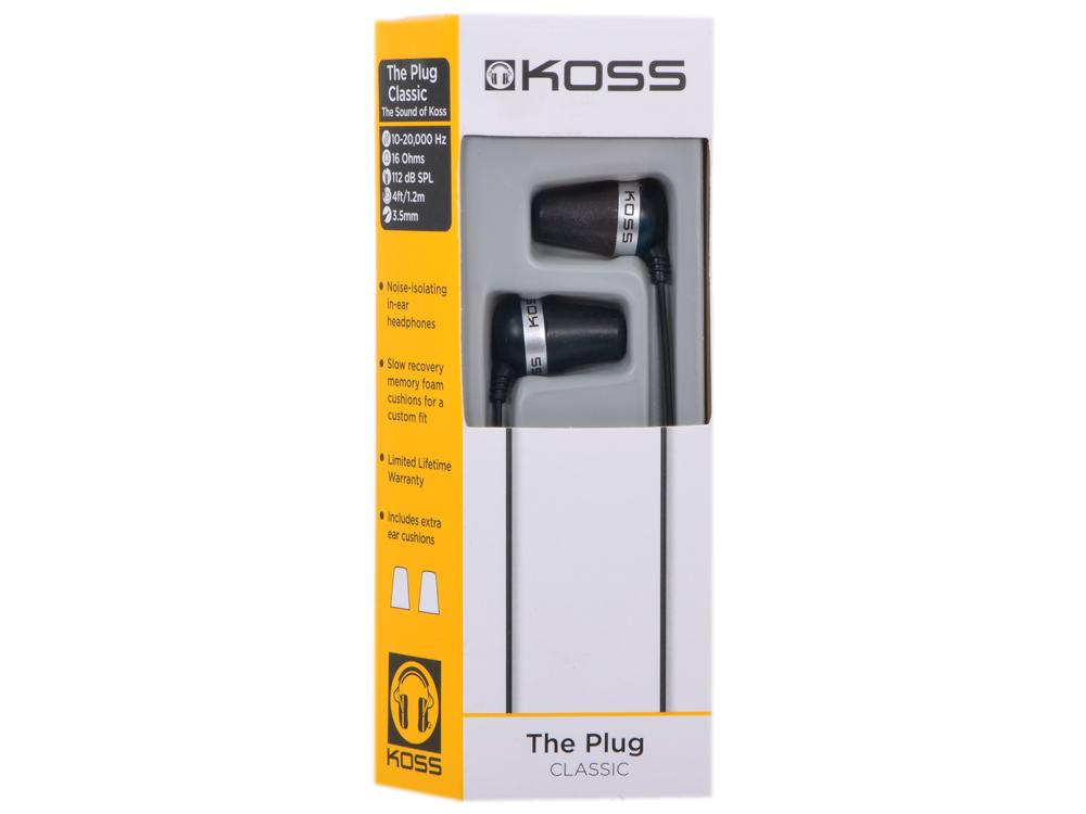 Наушники KOSS The PLUG Black (10-20000 Гц, 16 Ом, 112 Дб, шнур 1,2м) вкладыши phiaton ms300ba black наушники вкладыши ppu ba0300bk01