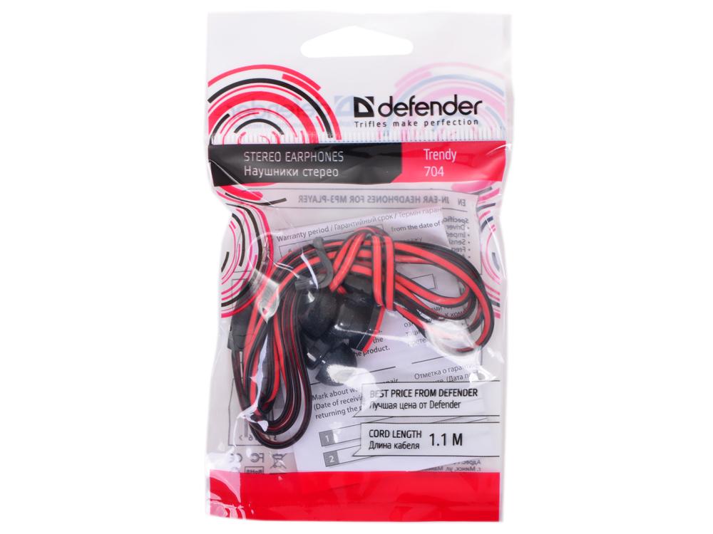Наушники Defender Trendy-704 для MP3, красны&черный, 1,1 м defender trendy 702 white blue наушники