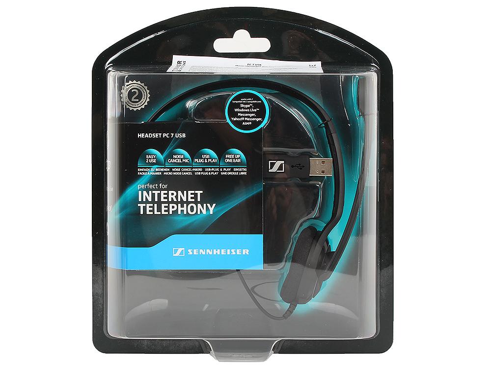 Гарнитура Sennheiser PC 7 USB гарнитура qcyber roof black red звук 7 1 2 2m usb
