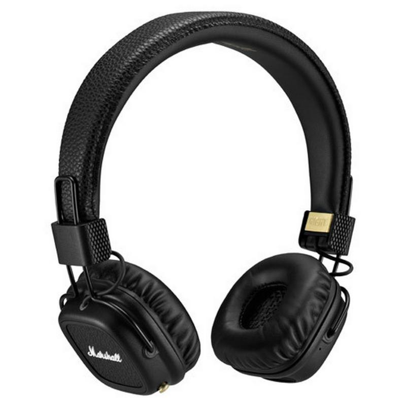 Наушники (гарнитура) Marshall Major II Bluetooth 04091378 Black Беспроводные, проводные / Накладные с микрофоном / Черный / 10 Гц - 20 кГц / 99 дБ / Одностороннее / до наушники philips shb3075bk 00 черный беспроводные полноразмерные с микрофоном черный 9 гц 21 кгц 103 дб до 12ч bluetooth micro usb