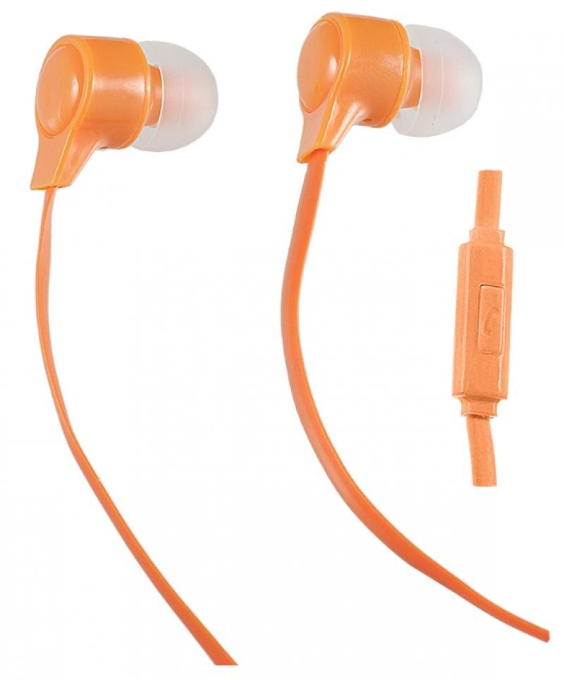 Наушники Perfeo HANDY оранжевый PF-HND-ORG Проводные / Внутриканальные с микрофоном / Оранжевый / 20 Гц - 20 кГц / Двухстороннее / Mini-jack / 3.5 мм гарнитура perfeo handy pf hnd lme lime