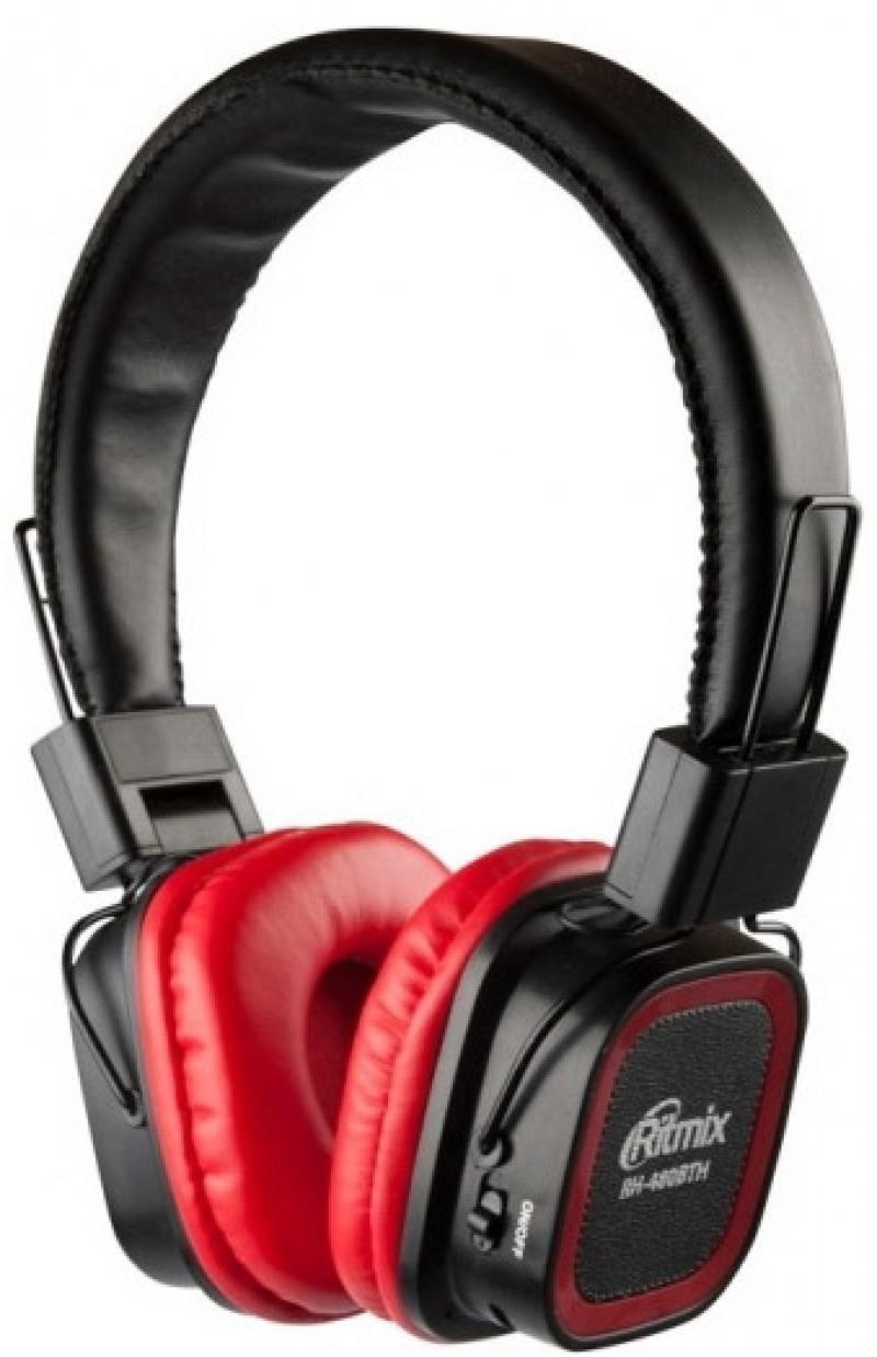 Наушники Ritmix RH-480BTH Беспроводные, проводные / Накладные с микрофоном / Черный-красный / 20 Гц - 20 кГц / 105 дБ / Одностороннее / Bluetooth, Mini-jack / 3.5 мм ritmix ritmix rzx 20