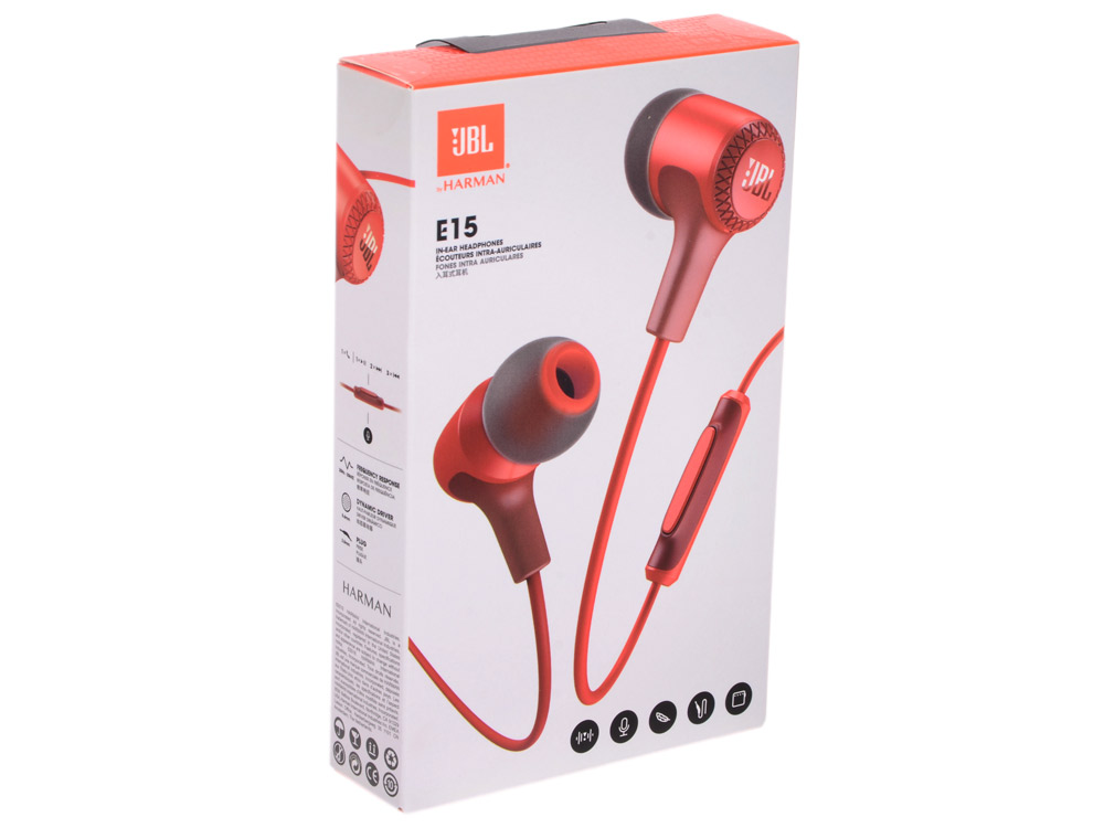 Наушники JBL E15 Red наушники bluetooth jbl e55bt red jble55btred